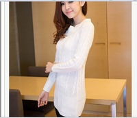 Charm Lady Twist Crew Neck long section of Sweater Knit Cozy  shirt bottoming