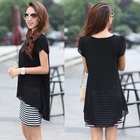 Black Striped Design Women One-Piece Clothing Size M-3XL Fashion Chffon Shirt 2014 Sweet Lady Blouses Dress