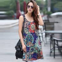 2014 Colorful Printing Women Maternity Chiffon Dress Size M-3XL Fashion Design Clothing Lady Mini One-Piece