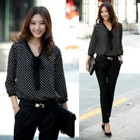 Drop shipping Vintage Polka Dots Bowknot Sexy Women Career Chiffon 3/4 Long Sleeve OL Shirts Casual Blouses Leisure Tops TV64