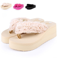 Summer new arrival platform flip flops shoes wedges female flower high-heeled platform slippers beach slippers female