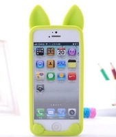 New Arrival Korea Style KOKO Cat Silicon Cover Case for iphone 5 (ear can turn on),10 Colors, Retail, Wholesale