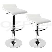 4x PVC Leather Bar stool Kitchen Chair White