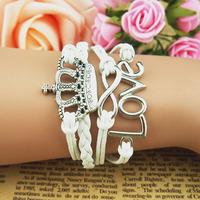 3pcs/Lot! Fashion love 8 accounterment leather wax cord bracelet customize