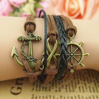 3pcs/Lot! Fashion vintage romantic boat anchor multi-layer multi-element bracelet accessories