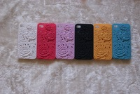 Flower design Relief pc case for iphone 4 4G 4S hard case free shipping 5pcs/lot
