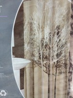 Oxford fabric brown white big tree js4190 , waterproof oxford fabric shower curtain