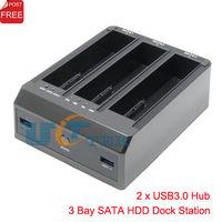 "USB 3.0 to 3 Bay SATA Hard Drive Docking Station HDD Dock For 2.5"" 3.5inch HDD 4TB OTC with 2 port USB3.0 HUB Singapore Post"