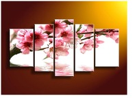 5 Panel Wall Art No Framed Modern Abstract Acrylic Flower Red Pink Moment Oil Painting On Canvas Pictures On The Wall