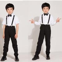 Flower girl child costume formal dress male child performance wear suspenders set