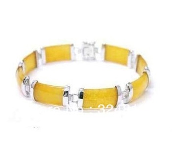 "Nice yellow jade chain 18K GP Link Bracelet 7.5"""