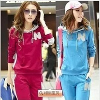 Spring and autumn women's elegant slim gentlewomen twinset with a hood sweatshirt student set sportswear