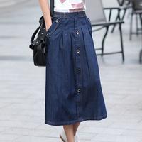 Korean Charm Lady Casual Denim Skirts Plus Size M-3XL New Loose Long Design Women Fashion A-line Jean Skirt
