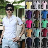 Korean men's business casual shirt men short-sleeved shirt Slim candy colors Size M  L  XL  XXL  XXXLFree shipping