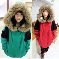 2012 autumn and winter new arrival fur collar preppy style medium-long berber fleece wadded jacket cotton-padded jacket female