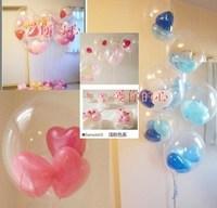 Large ball( 5pcs transparent +15 pcs 5inch heart)=1lot diy transparent ball wedding birthday decoration balloons  Free shipping