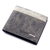 Male cowhide wallet short design genuine leather wallet boys wallet