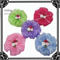 24PCS/LOT 31/2''   flowers for hair accessories shiny  organza mesh big silk flower
