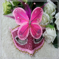 Free Shipping 2013 Hot Sales ! Rose Red Halloween Party Masks with Butterfly  12pcs/lot