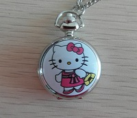 Free Shipping 2pcs retail wholesale new Round hello kitty shape pocket watch necklace fashion cute sweater necklace girls gift