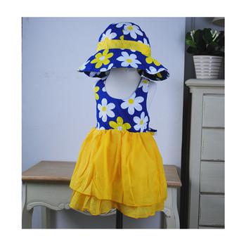 free shipping!sunflower girls backless dress,girls beach dress with big bowknot,children cotton dress