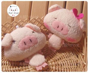 Pearl plush lovers pig three cis-pig plush doll mobile phone pendant chain bags