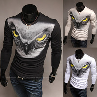 Free shipping Eagle print long-sleeve round neck T-shirt slim t-shirt  M~XXL