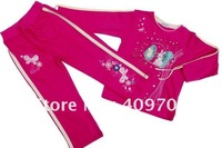 FREE SHIPPING 11108# Girls spring/summer suits with embroidery