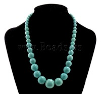 Free shipping!!!Fashion Turquoise Necklace,Trendy Fashion Jewelry, Round, blue, 6-20mm, Length:Approx 20 Inch, 10Strands/Lot