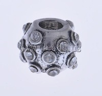Free shipping!!!Zinc Alloy European Beads,Kawaii,, Drum, without troll & with rhinestone, nickel, lead & cadmium free, 13x9mm