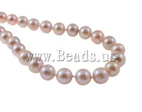 Free shipping!!!Natural Freshwater Pearl Necklace,Inspirational, with Rhinestone, brass bayonet clasp, Round, purple, 9-10mm