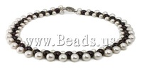 Free shipping!!!Natural Freshwater Pearl Necklace,2013 men, brass box clasp, Round, white, 7-9mm, Sold Per 17 Inch Strand