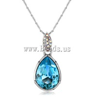 Free shipping!!!Crystal Zinc Alloy Necklace,Wholesale Jewelry, with Brass & Zinc Alloy, with rhinestone, Cerulean, nickel