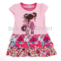 FREE SHIPPING H3773# Baby girl clothing  cotton striped short sleeve embroidery and printing hot sale dress Wholesale