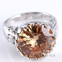 NEW Round Cut Morganite & White Topaz  Silver Ring Size 7 R1-00426