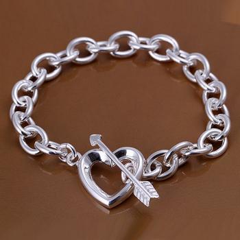 Free Shipping Handmade 925 Silver Fashion Jewelry, An Arrow Through A Heart Bracelet For Girls