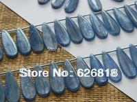 Free shipping jewelry 2014 natural  12*30mm blue kyanite flat teardrop beads wholesale Fashion Jewelry