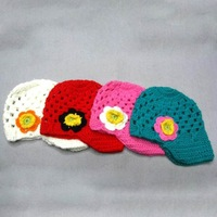 NEW KOREAN CHILDREN WINTER FLOWERS PRINCESS HAND-KNITTED HAT BB-0421