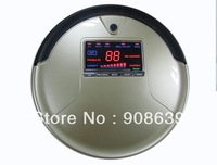 2013 Good Feedback  Robot Vacuum Cleaner with Golden Color ,Big LCD Screen ,Li-ion Battery , Vacuum And Mop ,1L Rubblish Box
