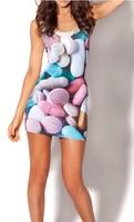 Best Quality 2014 new Women brand black milk Pills Dresses 3D printing summer Vest Tops free shipping