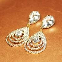 Free Shipping Fashion Gorgeous 18K Gold Plated Mutilayer Water-Drop Shape Full Rhinestone Dangle Earrings OEM