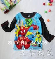 boy Spider-man t-shirt kids cartoon tops tees children casual T-topper summer chothes free shippng