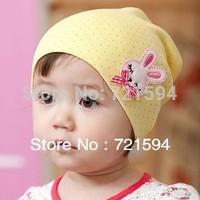 Free Shipping 2013 NEW Hot Cartoon little Bow Rabbit Labeling Baby Head Cap/Hat/Children's Hat