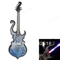 Funny  Fashionable Guitar Style LED Light Gasoline Lighter - Black + Blue (3 x LR626)