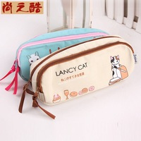 LZ bags Korea stationery pencil case female student canvas lancy cat schools & office cute double zipper pen storage bag