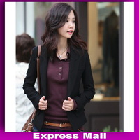 New arrival  Korean wild one button Slim small suit elegant lady's blazer  fashion small suit jacke free shipping