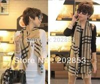 New Arrive Fashion stripe plaid scarf Female models the velvet chiffon scarf super long scarf Women Scraf Free Shipping