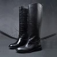 2013 spring and winter high-leg crocodile pattern genuine leather riding plus size boots women shoes