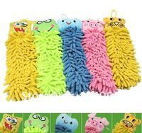 Free ship Microfiber cartoon Hanging towel Cute animal cleaning towel Hello kitty children gift kids prize 5pcs/Lot HG142