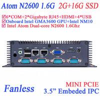 "3.5"" fanless mini pc with 6 COM 2 Gigabyte HDMI VGA dual display Intel N2600 1.6Ghz GMA3600 GPU 2G RAM 16G SSD windows or linux"